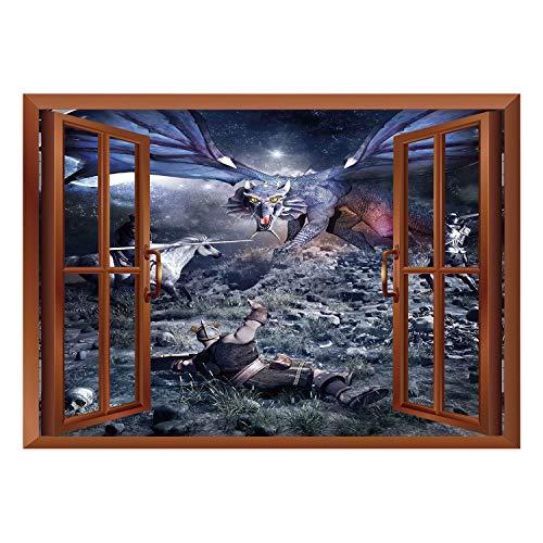 SCOCICI Window Frame Style Home Decor Art Removable Wall Sticker/Fantasy,Dragon Fighting with Medieval Knights War Scene in Gothic Fiction,Dark Blue Grey Purplegrey/Wall Sticker Mural