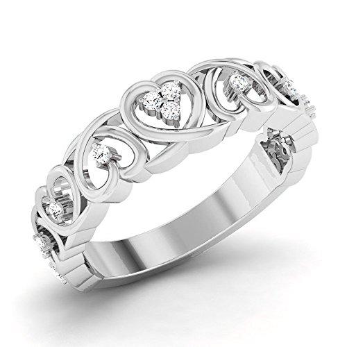 14k White Gold Diamond Scroll Heart Ring for Women .25CTW