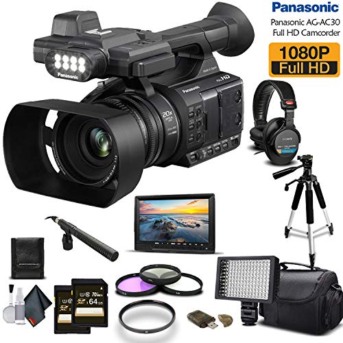Panasonic AG-AC30 Full HD Camcorder (AG-AC30PJ) 2-64GB Memory Card, UV Filter, LED Light, Case, Tripod, Rode Mic, External Screen Sony MDR-7506 Headphones - Professional Bundle