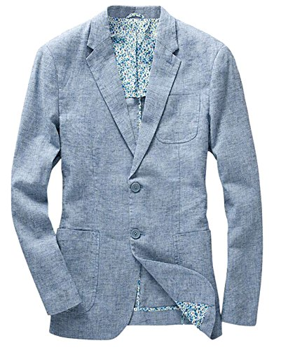 chouyatou Men's Lightweight Half Lined Two-Button Suit Blazer (X-Large, - Sport Coat Linen Italy