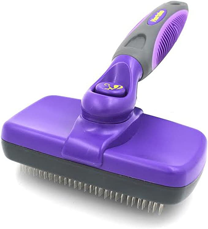 Hertzko Self Cleaning Slicker Brush - Gently Removes Loose Undercoat, Mats and Tangled Hair - Your Dog or Cat Will Love Being Brushed with The Grooming Brush