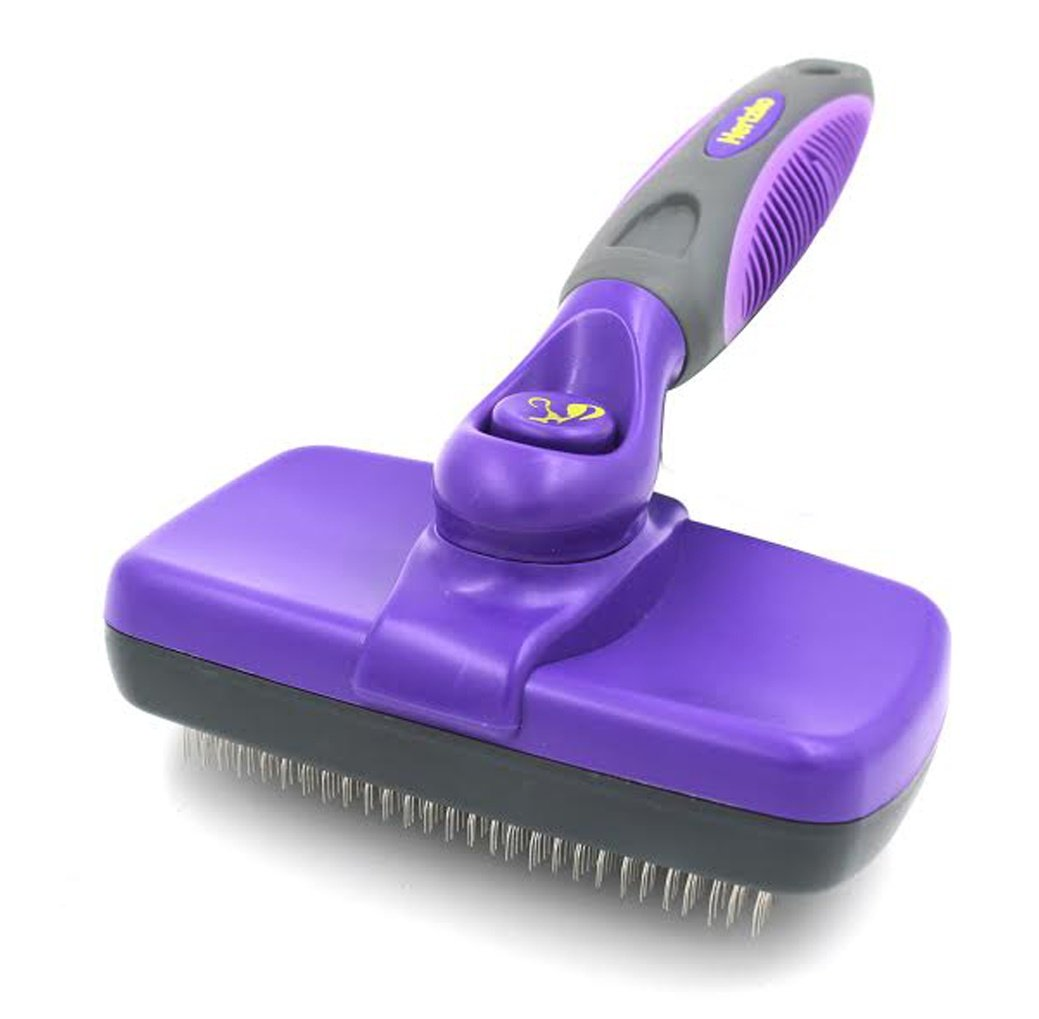Hertzko Self Cleaning Slicker Brush - Gently Removes Loose Undercoat, Mats and Tangled Hair - Your Dog or Cat Will Love Being Brushed with The Grooming Brush by Hertzko