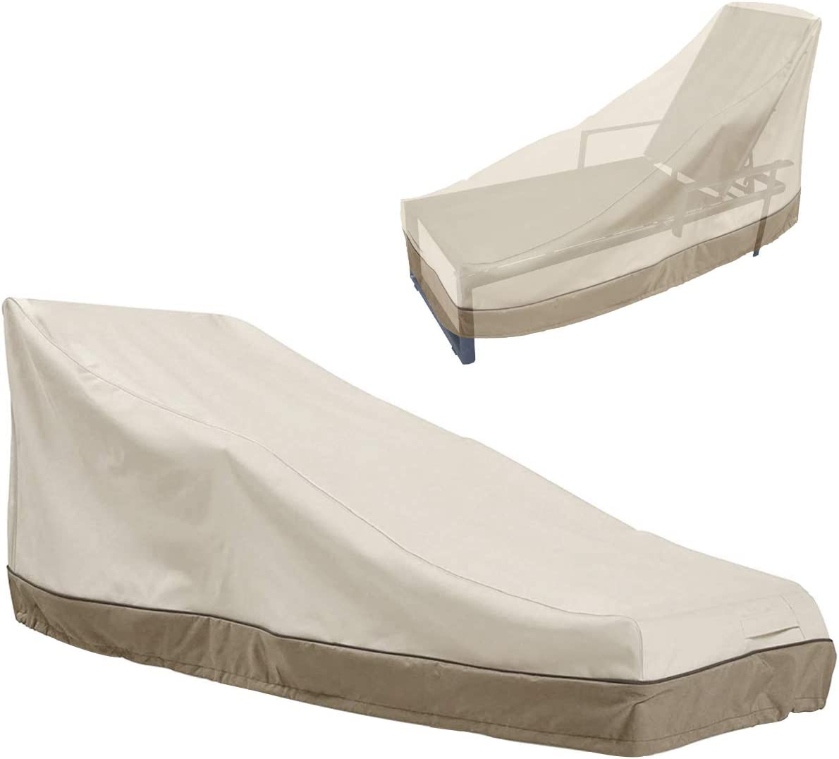 """ZAZA Waterproof Patio Chaise Lounge Cover, 600D Heavy Duty Outdoor Lounge Chair Covers,UV Resistant Patio Furniture Covers, Beige & Coffee (78"""" L x 35.5"""" W x 33"""" H)"""