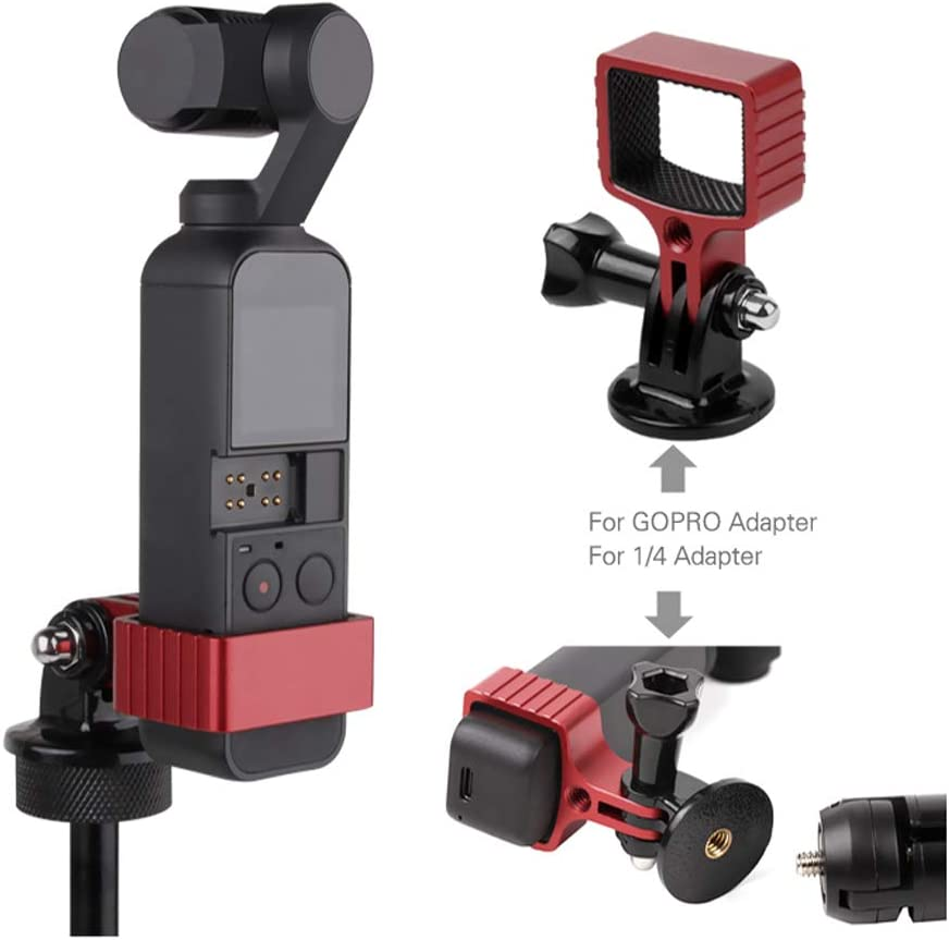 Expansion Stabilizer Connect Tripod Selfie Stick Holder Stand with 1//4 Screw Kits Xingsiyue Fixed Adapter Mount for DJI Osmo Pocket Red