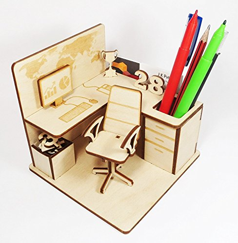 StonKraft Wooden 3D Puzzle - Office Cubicle - Desk Organizer, Pen Stand - Easy to Assemble - Ideal DIY for School Project