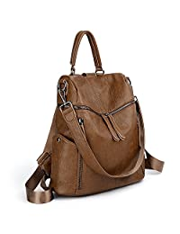 UTO Women Backpack Purse PU Washed Leather 3 Ways Ladies Rucksack Zipper Shoulder Bag CA