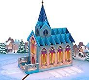 Lovepop Stained Glass Christmas Chapel Christmas Pop Up Card, 5x7 - 3D Greeting Card, Pop Up Christmas Cards,