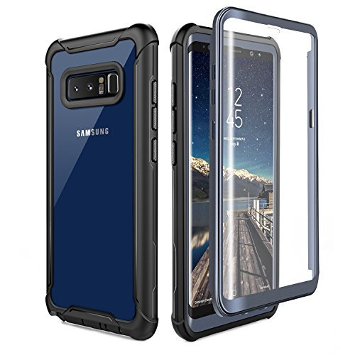 Samsung Galaxy Note 8 Cell Phone Case - Ultra Thin Clear Cover with Built-in Anti-Scratch Screen Protector, Full Body Protective Shock Drop Proof Impact Resist Extreme Durable Case, Black/Grey