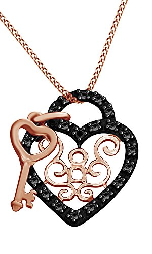 Christmas Holiday Sale Black Natural Diamond Accents Heart & Key Pendant in 14k Rose Gold Over Sterling Silver (0.01 Cttw) (Sterling Silver Key Pendant With Diamond Accents)