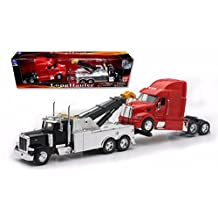 New Ray Toys 1:32 Scale Peterbilt Tow Truck With Red Peterbilt Cab Semi Truck by New Ray