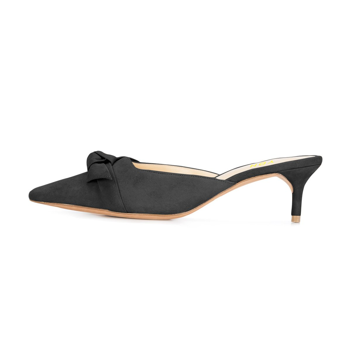 a93f266c7e8 YDN Womens Low Heels Slide Sandals Pointed Toe Kitten Mules Slip on Pumps  with Chic Bow