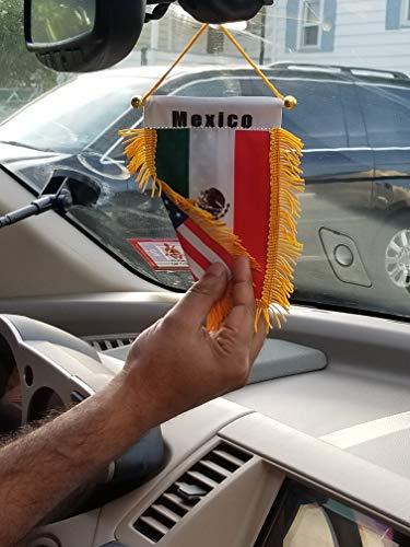 Double Country Mexico/USA Flag Rear View Mirror Mini Banner 4