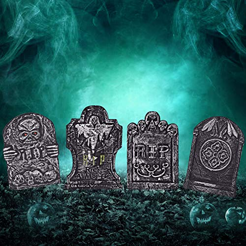 """BELANT Halloween Decorations 15"""" Graveyard Tombstones Assortment Foam RIP Headstone Decorations with 8 Bonus Stakes for Outdoor Halloween Yard Decorations, Pack of 4"""