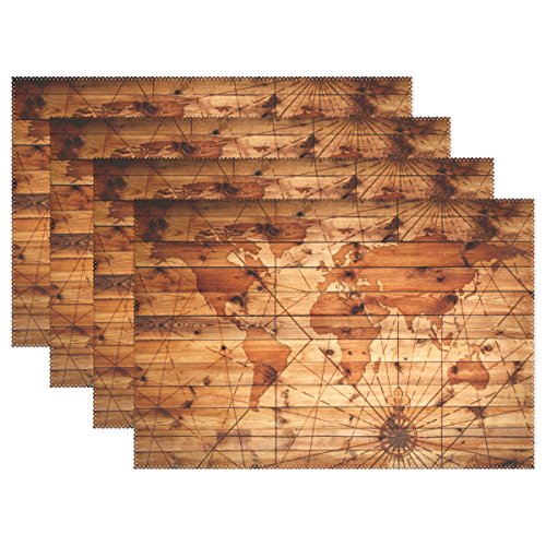 - Abstract Vintage World Map Pattern on Wooden Board Heat-Resistant Table Placemats Set of 6 Anti-Skid Table Mats Washable Eat Mat for Parties Everyday & Holidays Use