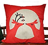 Dhnewsun 18 X 18 Inch Cotton Linen Decorative Throw Pillow Cover Cushion Case, In-Love Deer