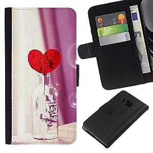 KLONGSHOP // Tirón de la caja Cartera de cuero con ranuras para tarjetas - Amor Botella Corazón - HTC One M7 //
