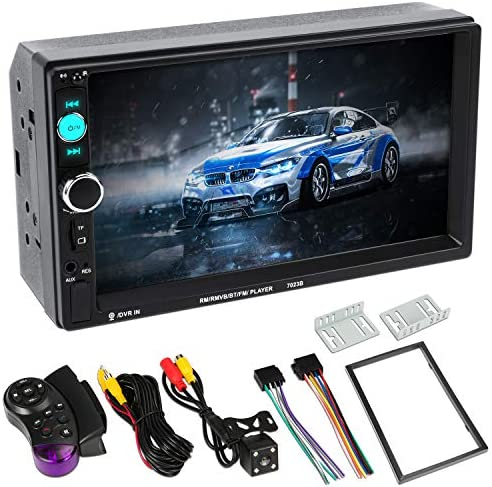 Double Din Car Stereo7 inch Double Din Touchscreen Bluetooth Speaker Car RadioAudio Video Player MP5 MP3 Player,Supports Bluetooth FM Rear Camera USB TF with Remote Control Black