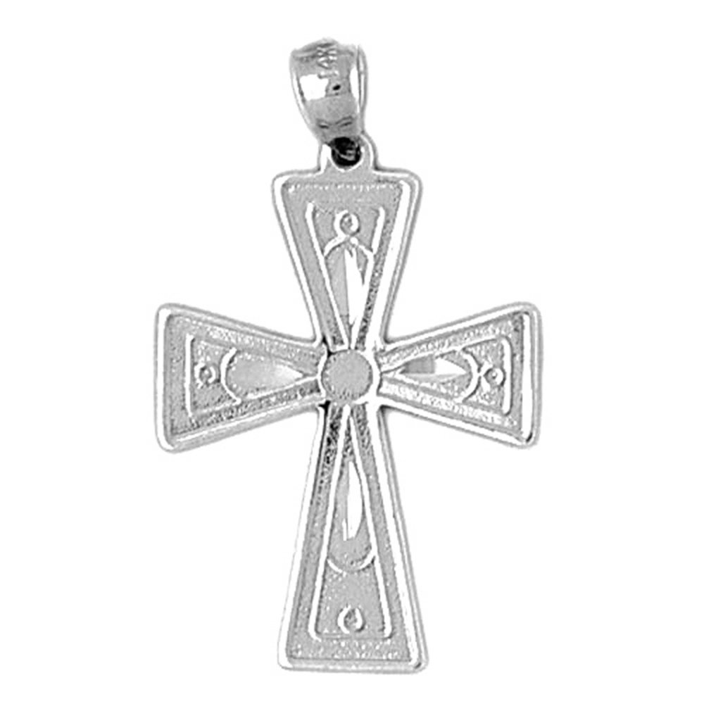 JewelsObsession Sterling Silver 33mm Cross Charm w//Lobster Clasp