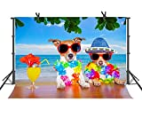 FUERMOR Seaside Backdrop 7x5ft Dogs on Holiday Background Children Newborn Photography Photo Video Props NANFU376