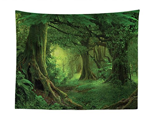 Lunarable Forest Tapestry, Enchanted Woodland Foliage in Deep Tropical Jungle at Southeast Asian Landscape Print, Fabric Wall Hanging Decor for Bedroom Living Room Dorm, 28 W X 23 L inches, Green