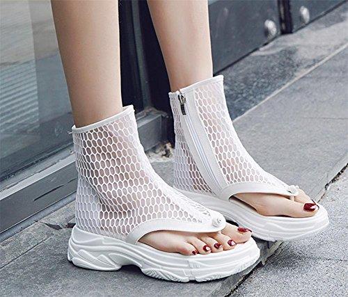 Deportes Mujer Botas Casual De YUCH Net Toe White Y Zapatos Mujeres Cortas BY6q6w