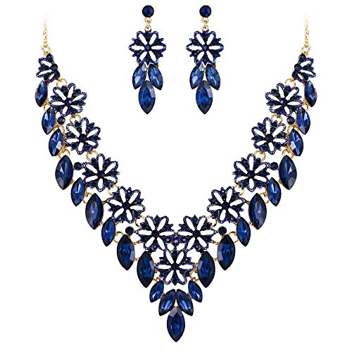 BriLove Women's Wedding Bridal Crystal Multi Flower Marquis Cluster Statement Necklace Dangle Earrings Set Sapphire Color Gold-Tone