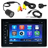 """Pyle PLDN65BT 6.5"""" Touch Screen Display Car CD DVD USB Bluetooth Stereo Receiver Bundle Combo With PLCM22IR Flush Mount Rear View Colored Backup Parking Camera"""