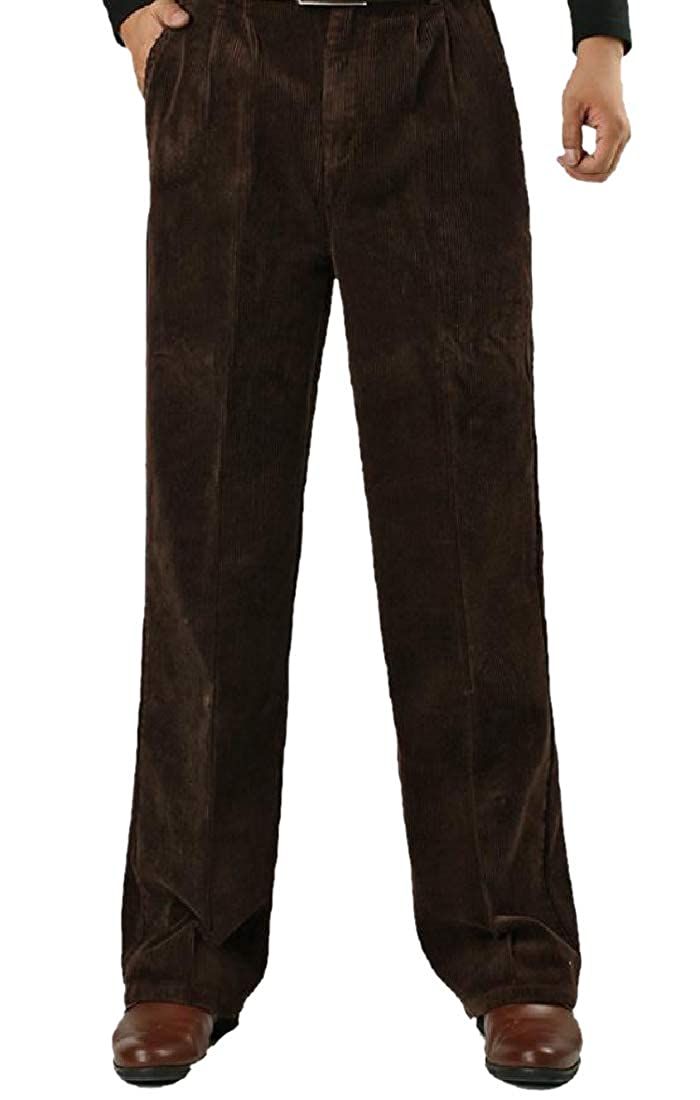 SportsX Men Large Size Corduroy High Waist Stay Warm Business Pant