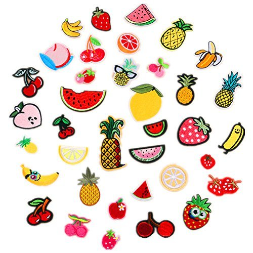 Assorted 37pcs Banana Orange Apple Strawberry Watermelon Pineapple Iron on Patches Fruit Embroidered Appliques Decorative Repair Motif DIY Sew on Patches for Jeans Clothing ()