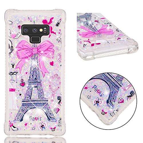 (Galaxy Note 9 Case, UZER Shockproof Cute Bling Quicksand Moving Flowing Floating Luxury Twinkle Glitter Shining Sparkle TPU Bumper Full-Body Protective Liquid Case for Samsung Galaxy Note 9 (2018))