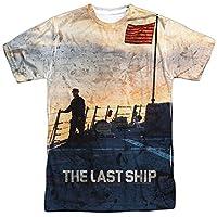 Trevco Men's Last Ship Double Sided Print Sublimated T-Shirt, White, Medium