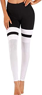 YONGYONG New Yoga Clothes Female Mesh Stitching Black and White Yoga Pants Sports Tight Fitness Pants (Size : S)