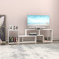 DEVAISE TV Stand / 2 Pieces Bookcase / Bookshelf (0.59' Thk, White)