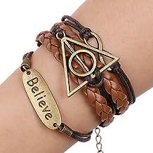 "SIVITE Harry Potters Hallows Braided Leather Infinite ""Believe"" Pendant Bracelet Multilayer Cuff Bangle"