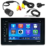 Pyle PLDN63BT 6.5 Touch Screen Display Car CD DVD USB Bluetooth Stereo Receiver Bundle Combo With PLCM22IR Flush Mount Rear View Colored Backup Parking Camera