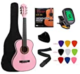 "YMC Classical Guitar 1/2 Size 34"" Inch Nylon Strings Classical Acoustic Guitar Starter Pack With Carrying Case & Accessories for Beginner Students Children-Pink"