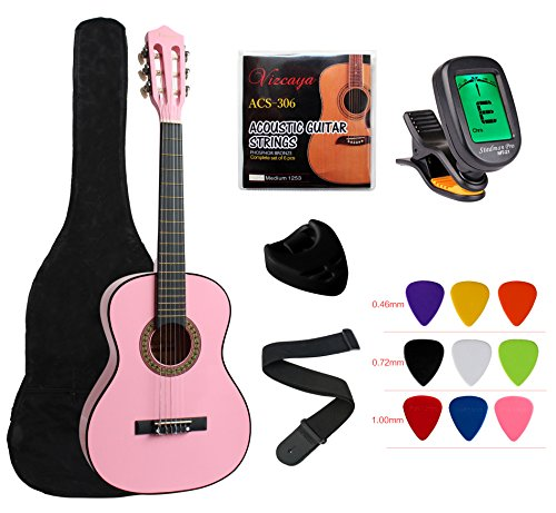 YMC Classical Guitar 1/2 Size 34 Inch Nylon Strings Classical Acoustic Guitar Starter Pack With Carrying Case & Accessories for Beginner Students Children-Pink