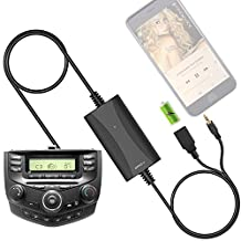 [New Generation] Car Stereo AUX Input Adapter, APPS2Car Auxiliary MP3 Kit USB Charger for Select Honda Civic CRV Accord Odyssey Pilot Fit Jazz Element Ridgeline S2000, Acura MDX RDX CSX Ilx TSX TL RL