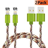 iPhone Charger, KMISS 2Pack 10FT Nylon Braided USB A to Lightning Compatible Cable Compatible with iPhone 7 Plus 6S Plus 6 Plus SE 5S 5C 5, iPad 2 3 4 Mini Air Pro, iPod & More