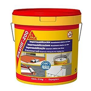 Sikafill-200 fibras, Pintura elástica con fibras para impermeabilización, Gris, 5kg: Amazon.es: Bricolaje y herramientas