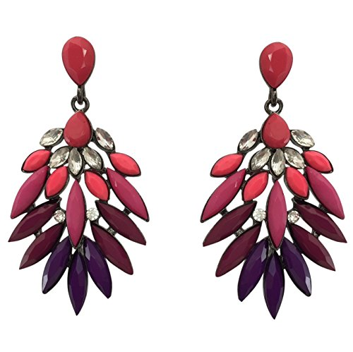 Spike Rhinestone and Resin Flair Post Multi Color Long Dangle Style Boutique Earrings Pink to Purple