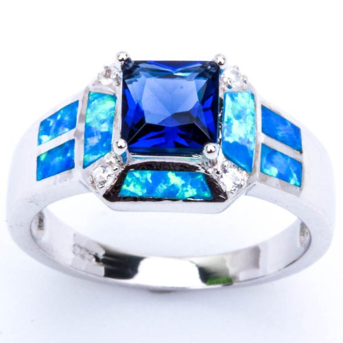 Blue Ring Opal Lab (Blue Simulated Sapphire, Lab Created Blue Opal, & Cz Fashion .925 Sterling Silver Ring Size 7 Sro16880-bs-bo)