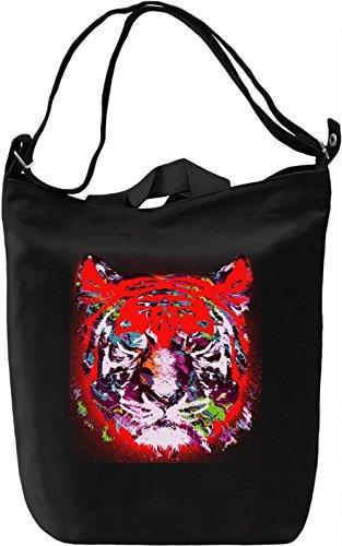 Tiger Stencil Borsa Giornaliera Canvas Canvas Day Bag| 100% Premium Cotton Canvas| DTG Printing|