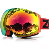 ZIONOR Lagopus X4 Ski Snowmobile Snowboard Skate Goggles with 100% UV400 Protection Magnet Quick Lens-changing Spherical Frameless Goggles