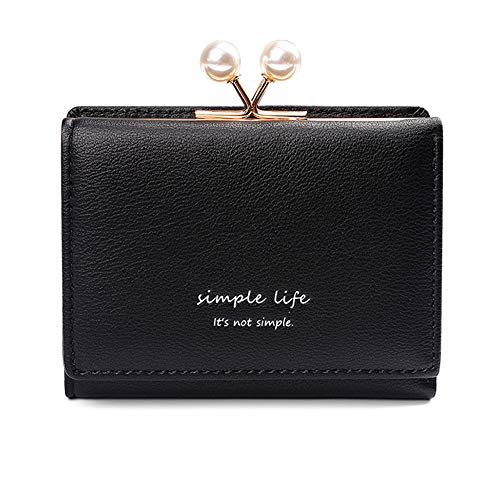 Women's Small Clutch Wallet Cute Mini Synthetic Leather Card Holder Case Compact Bifold Coin Purse (Black Bead, Small)