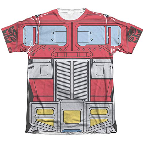 Transformers Optimus Prime Costume Unisex Adult Sublimated Poly/Cotton T Shirt for Men and Women, 2X-Large White -