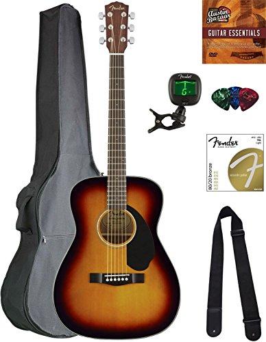 Fender CC-60S Concert Acoustic Guitar - 3-Color Sunburst Bundle with Gig Bag, Tuner, Strap, Strings, Picks, Austin Bazaar Instructional DVD, and Polishing Cloth (Acoustic Guitar Concert)