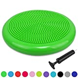 Sporthomer Balance Disc - Stability Wobble Cushion - Lumbar Support For Desk and Office Chair, Lower Back Pain Relief and Support - Kid's Wiggle Seat For Classrooms- Home Gym Workout Equipment – Green
