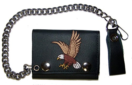 EMBROIDERED FLYING EAGLE Mens Biker Leather Tri-fold Wallet with (American Eagle Leather Belt)