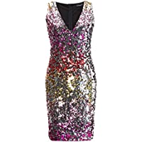 Yixuang Women's V-Neck Sequined Hip Dress Sleeveless Evening Dress Mini Elastic Club Party Dress